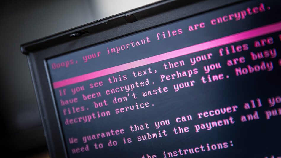 A laptop displays a message after being infected with ransomware. (Rob Engelaar/AFP/Getty Images)