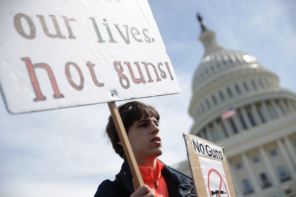 A high school student at a gun control rally in front of the U.S. Capitol in March 2019. The U.S. House is taking up gun control measures after recent mass shootings but it's not clear what the Senate or President Trump will accept.