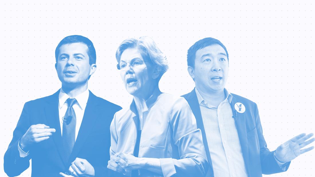 Pete Buttigieg, Sen. Elizabeth Warren and Andrew Yang