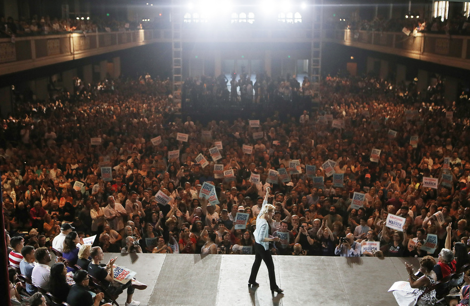 Democratic presidential candidate Sen. Elizabeth Warren speaks to supporters at the Shrine Auditorium in Los Angeles last month. (Mario Tama/Getty Images)