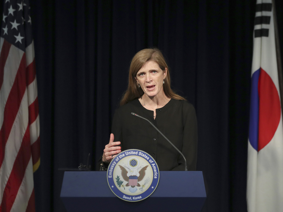 Then U.S. Ambassador to the U.N. Samantha Power answers a reporter's question during a news conference in Seoul, South Korea on Oct. 9, 2016. (Lee Jin-man/AP)