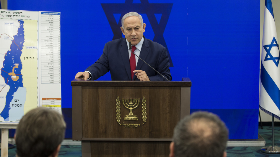 Israeli Prime Minister Benjamin Netanyahu announces his pledge Tuesday to annex the Jordan Valley in the West Bank if he wins reelection in next week's vote. (Amir Levy/Getty Images)