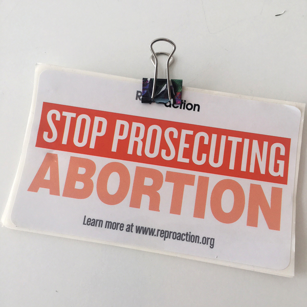 A sticker handed out at a recent forum in St. Louis on self-induced abortion.