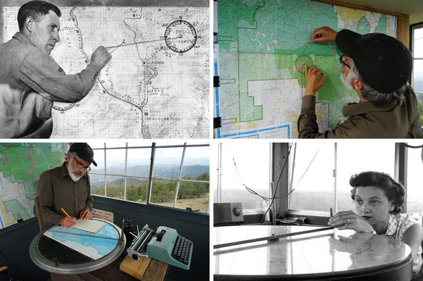 Upper left: A lookout demonstrates how to find the approximate location of a fire after two towers have reported seeing smoke in 1936. Upper right: Connors marks a map of the area. Lower right: A fire lookout uses a fire finder at a Delaware fire tower in 1943. Lower left: Connors consults a fire finder while writing in his notebook.