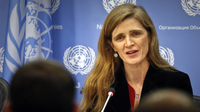 Samantha Power speaks on Jan. 13, 2017, during her final press conference as the U.S. Ambassador to the United Nations.