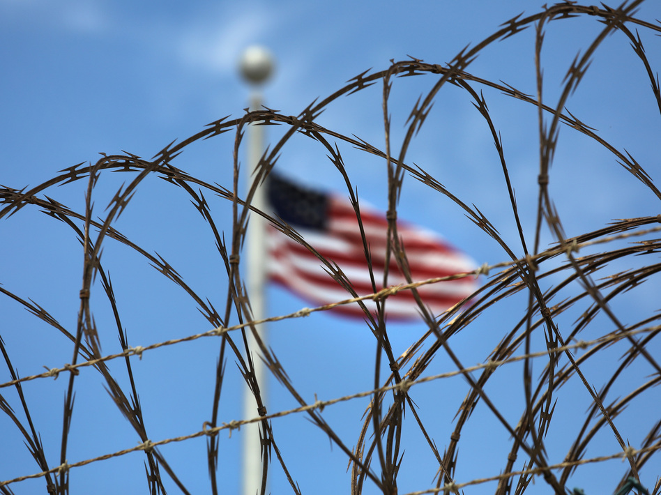 Razor wire tops the fence of the U.S. prison at Guantánamo Bay, Cuba, on October 23, 2016. (John Moore/Getty Images)