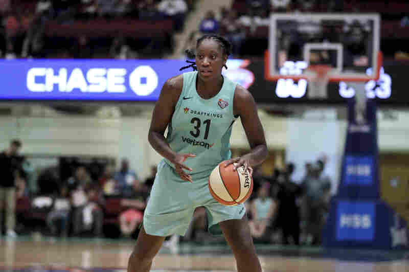 New York Liberty's Tina Charles plays in a WNBA basketball game on Aug. 12, 2018 in New York.