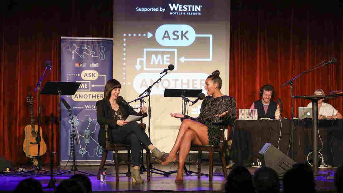 Ask Me Another host Ophira Eisenberg chats with Ilfenesh Hadera at the Bell House in Brooklyn, New York.
