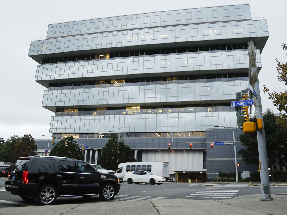 Purdue Pharma headquarters in Stamford, Conn, shown last week. The company, which makes OxyContin and other drugs, filed court papers in New York on Sunday seeking Chapter 11 bankruptcy protection. (Frank Franklin II/AP)