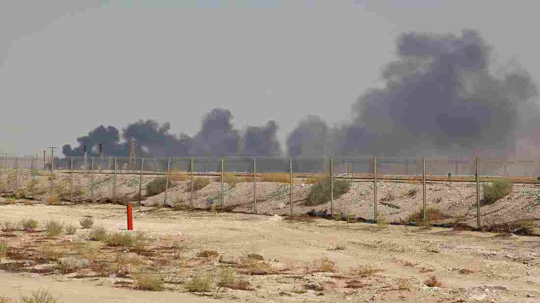 Smoke billows from an Aramco oil facility in Abqaiq about 60km (37 miles) southwest of Dhahran in Saudi Arabia. (Photo credit should read -/AFP/Getty Images)