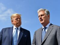 President Trump with his new national security adviser, Robert O'Brien, on Wednesday in Los Angeles.
