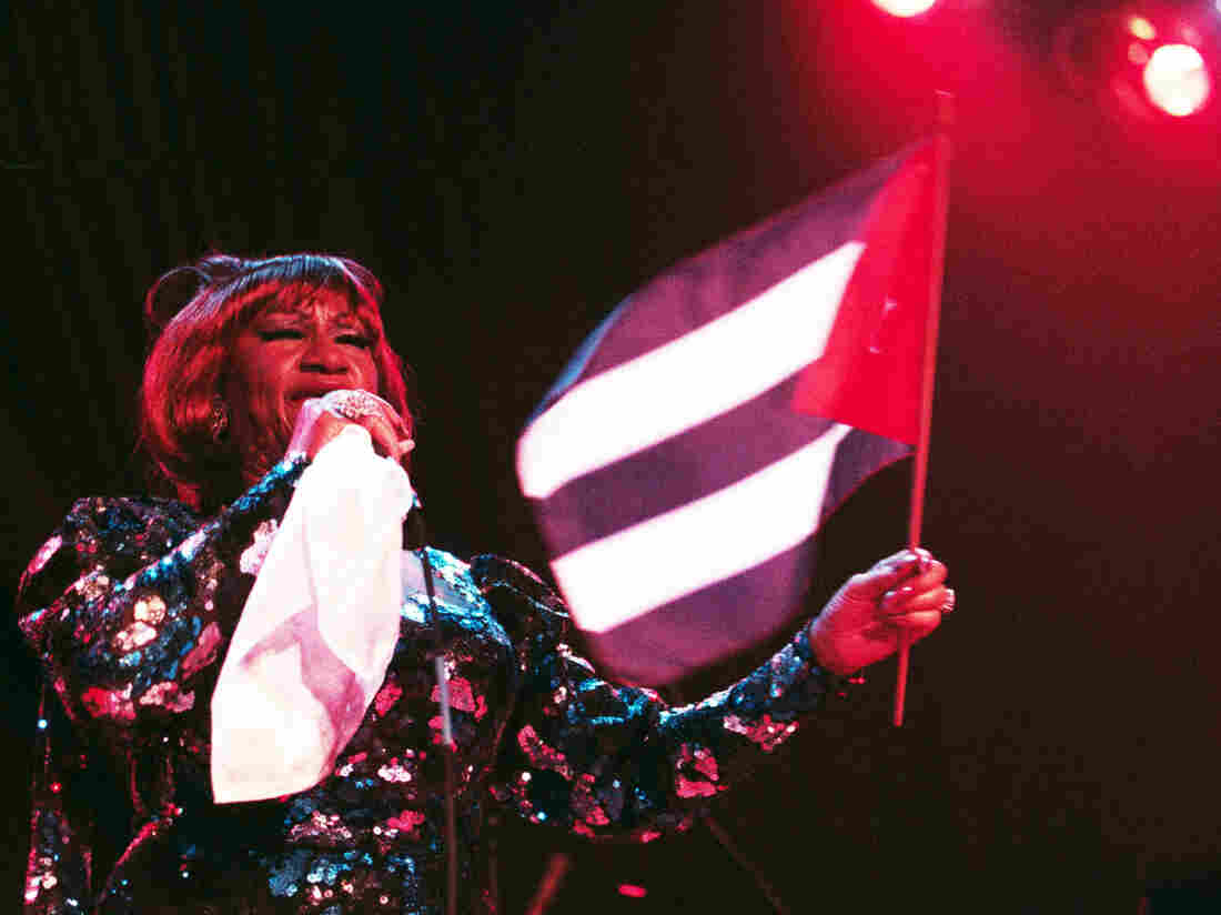 Celia Cruz, performing in Chicago in 1997.
