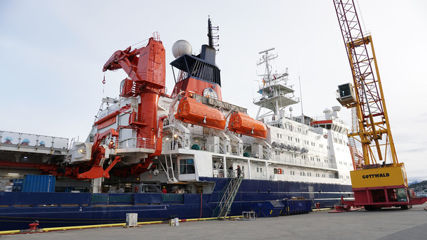 The German icebreaker Polarstern sits in Breivika harbor in Tromso, Norway, on Tuesday. If all goes according to plan, it will spend the next year frozen into the Arctic sea ice.