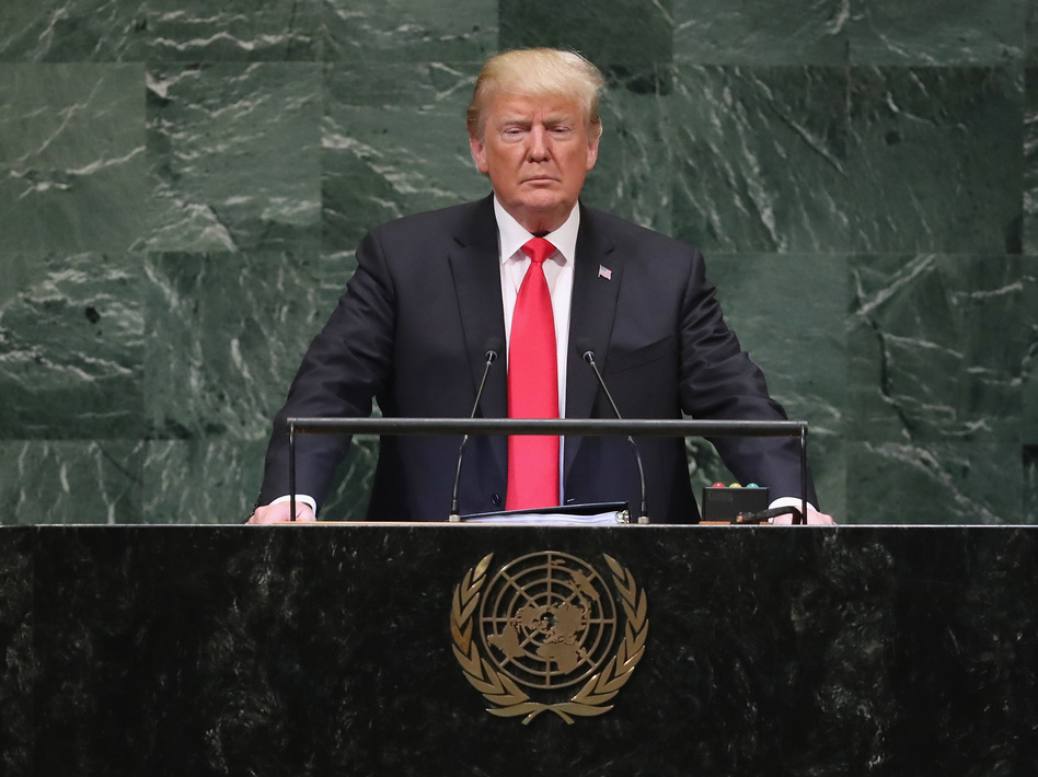 President Trump speaks before the U.N. General Assembly on Sept. 25, 2018. He'll address the assembly for the third time this week amid concerns about the role of U.S. leadership in the world. (John Moore/Getty Images)