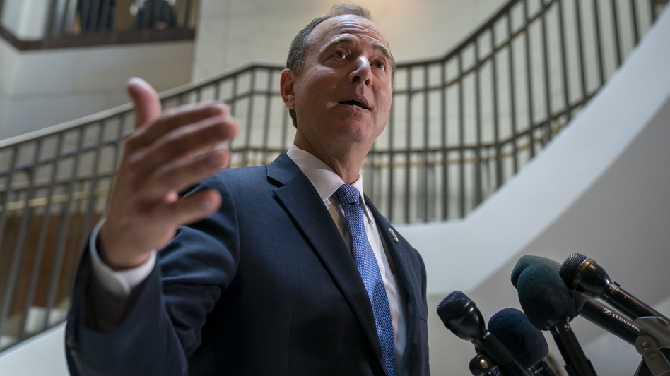 Rep. Adam Schiff, D-Calif., chairman of the House Intelligence Committee, speaks with reporters about a whistleblower complaint on Thursday. (J. Scott Applewhite/AP)
