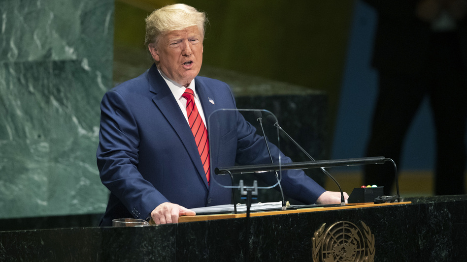 President Trump addresses the 74th session of the United Nations General Assembly at U.N. headquarters on Tuesday. (Mary Altaffer/AP)