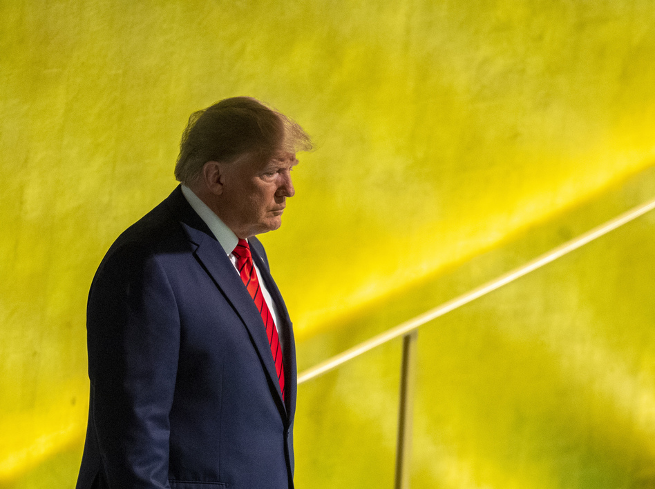 President Trump at the United Nations General Assembly in New York on Tuesday. The July call is at the center of a controversy over whether Trump pressured another country to investigate former Vice President Joe Biden. (Mary Altaffer/AP)