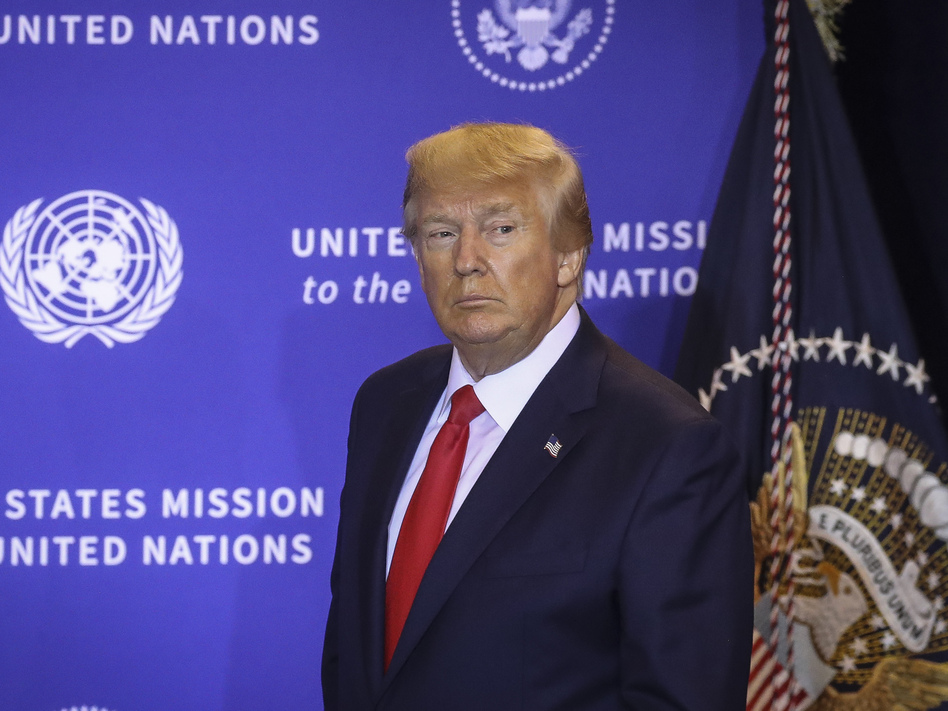 President Trump arrives at a press conference on the sidelines of the United Nations General Assembly on Wednesday in New York City. (Drew Angerer/Getty Images)