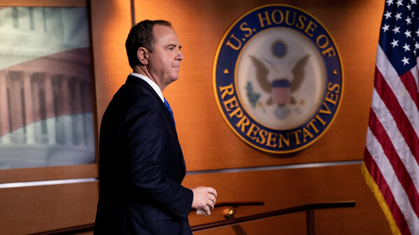 House intelligence committee Chairman Rep. Adam Schiff, D-Calif., arrives for a press conference on Capitol Hill on Wednesday. His committee has released a whistleblower complaint raising concern about President Trump.