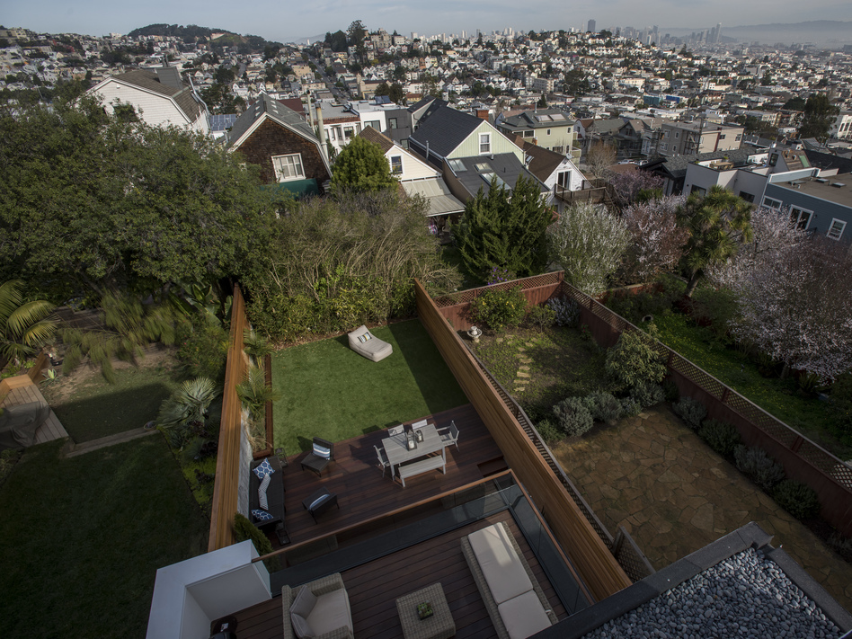 The view from the balcony of a house listed at $5.5 million in San Francisco. Income inequality in the U.S. grew worse in California and eight other states in 2018, the U.S. Census Bureau says. (David Paul Morris/Bloomberg via Getty Images)