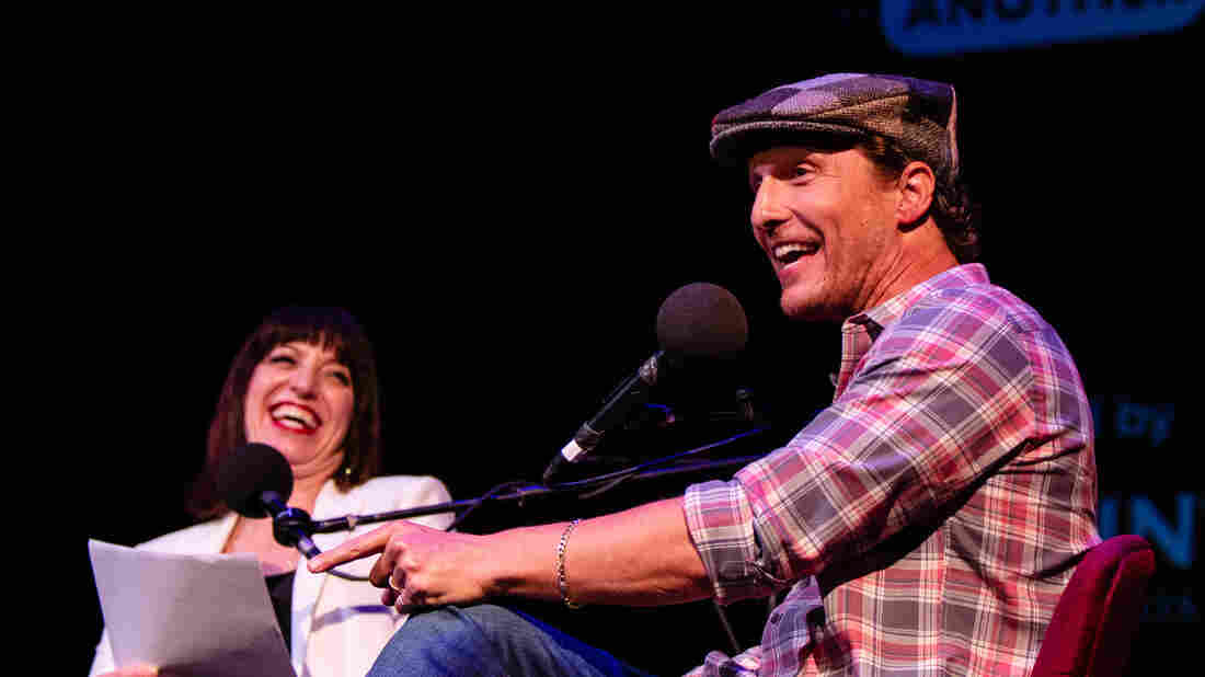 Ophira Eisenberg and Matthew McConaughey appear on Ask Me Another at the Paramount Theatre in Austin, Texas.