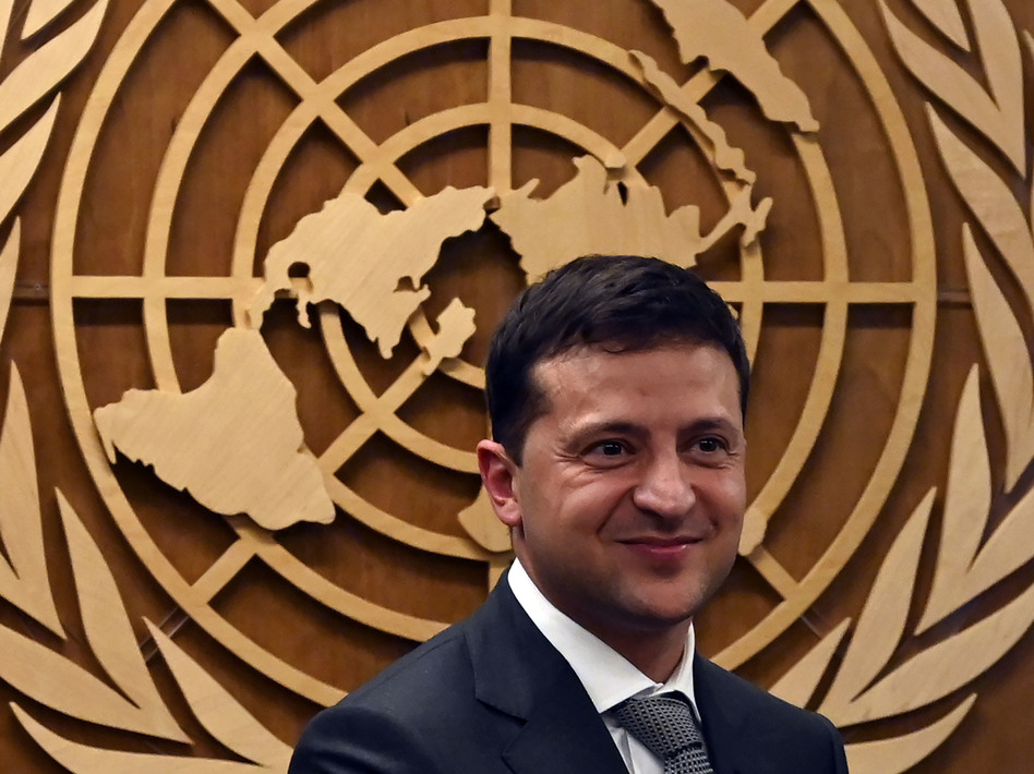 Ukrainian President Volodymyr Zelenskiy smiles after meeting United Nations Secretary-General António Guterres during the 74th Session of the General Assembly on Thursday in New York. (Timothy A. Clary/AFP/Getty Images)