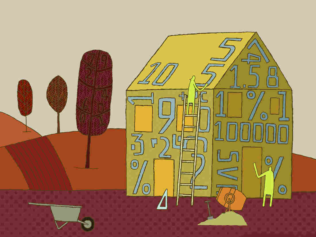 Illustration of a house made of numbers
