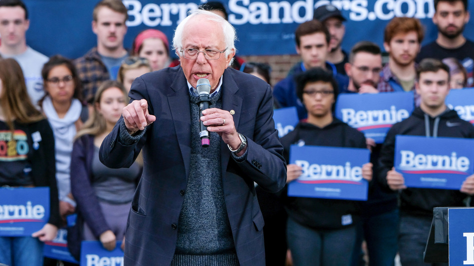 "Vermont senator and presidential candidate Bernie Sanders' campaign says he ""is conversing and in good spirits. He will be resting up over the next few days."" (Preston Ehrler/SOPA Images/LightRocket via Getty Images)"