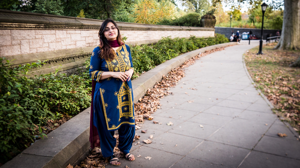 Gulalai Ismail, the Pakistani activist who fled the country after being threatened for taking a stand against s****l violence perpetrated by security forces. She was photographed in Brooklyn, where she is now seeking asylum.