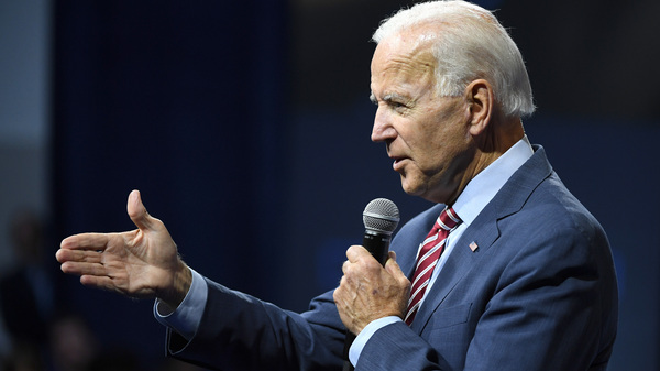 Former Vice President Joe Biden speaks during a gun control forum in Las Vegas on Wednesday. As President Trump has continued pushing false charges against Biden and his son Hunter during the impeachment fight, Biden has increased his push back.