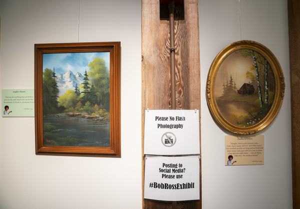 Happy Accidents: An Exhibit of Bob Ross Paintings will be on display the Franklin Parks Art Center, in Purcellville, Va., through Oct. 15.