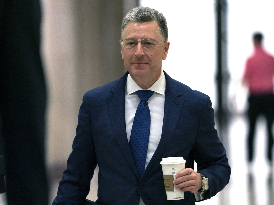 Kurt Volker, former U.S. special envoy to Ukraine, arrives for a closed-door interview with House investigators on Thursday. House Democrats are proceeding with the impeachment inquiry of President Trump. (J. Scott Applewhite/AP)