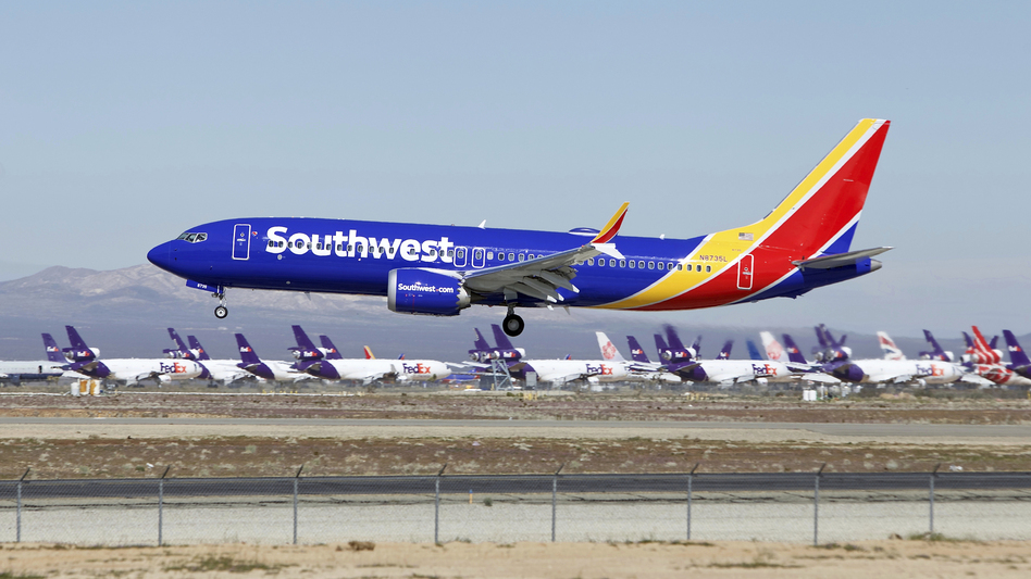 A Southwest Airlines Boeing 737 Max lands in Victorville, Calif., in March. (Matt Hartman/AP)