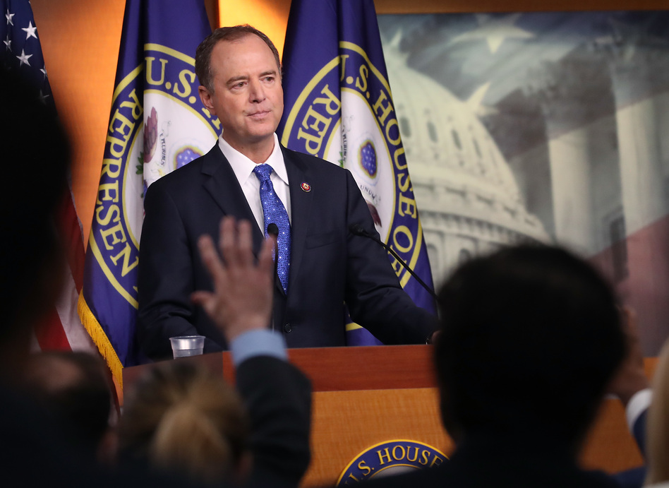 House Intelligence Chairman Rep. Adam Schiff of California speaks to the media last month. Schiff is leading the charge in the impeachment inquiry into President Trump. (Mark Wilson/Getty Images)