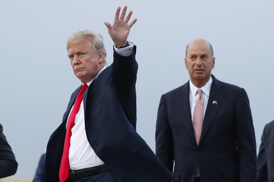 President Trump, joined by Gordon Sondland, the U.S. ambassador to the European Union, in Brussels, Belgium. (Pablo Martinez Monsivais/AP)