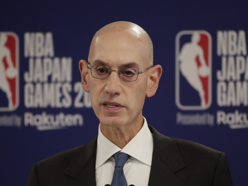 NBA Commissioner Adam Silver speaks at a news conference before an NBA preseason basketball game between the Houston Rockets and the Toronto Raptors Tuesday, in Saitama, near Tokyo. (Jae C. Hong/AP)