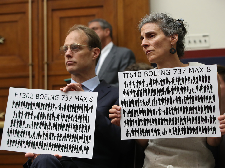 Michael Stumo and his wife Nadia Milleron, whose daughter was killed in the Ethiopian Airlines Flight crash, attend a House committee hearing June 19. They and other victims' families have been a driving force in the campaign to keep the Boeing 737 Max grounded. (Mark Wilson/Getty Images)