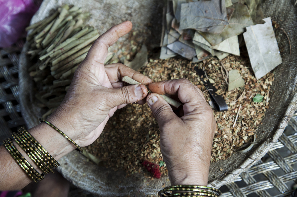 A woman rolls tobacco inside a tendu leaf to make a beedi cigarette at her home in Kannauj, Uttar Pradesh, India, on Wednesday, June 3, 2015. India's smokers favor cheaper options such as chewing and leaf-wrapped tobacco over cigarettes. (Udit Kulshrestha/Bloomberg/Getty Images)