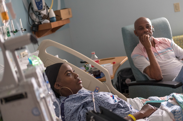In July, Gray was recovering following the medical procedure which involved infusions of billions of her bone marrow cells, which had been edited using the gene-editing technique CRISPR. Her father Timothy Wright (right) traveled from Mississippi to keep her company.