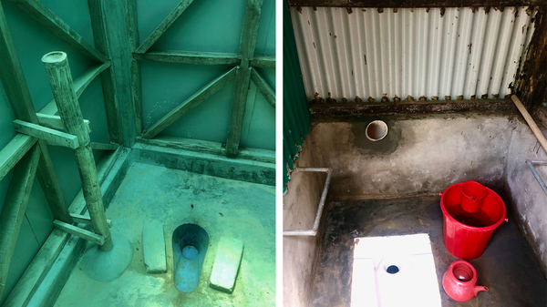 These toilets in the Rohingya refugee camps in Bangladesh were designed to be friendlier for pregnant women by giving them something to grab onto when using a squat latrine. At left: A long bamboo pole was installed next to a latrine from Oxfam International. At right: A metal handle sits alongside a squat toilet provided by the Bangladesh Red Cross and the Danish Red Cross.