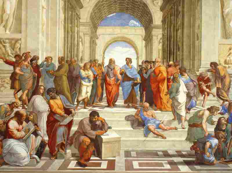 Raphael's 'The School of Athens'. On the far left is Ibn Rushd, commonly known as Averroes, in a green robe and yellow turban.