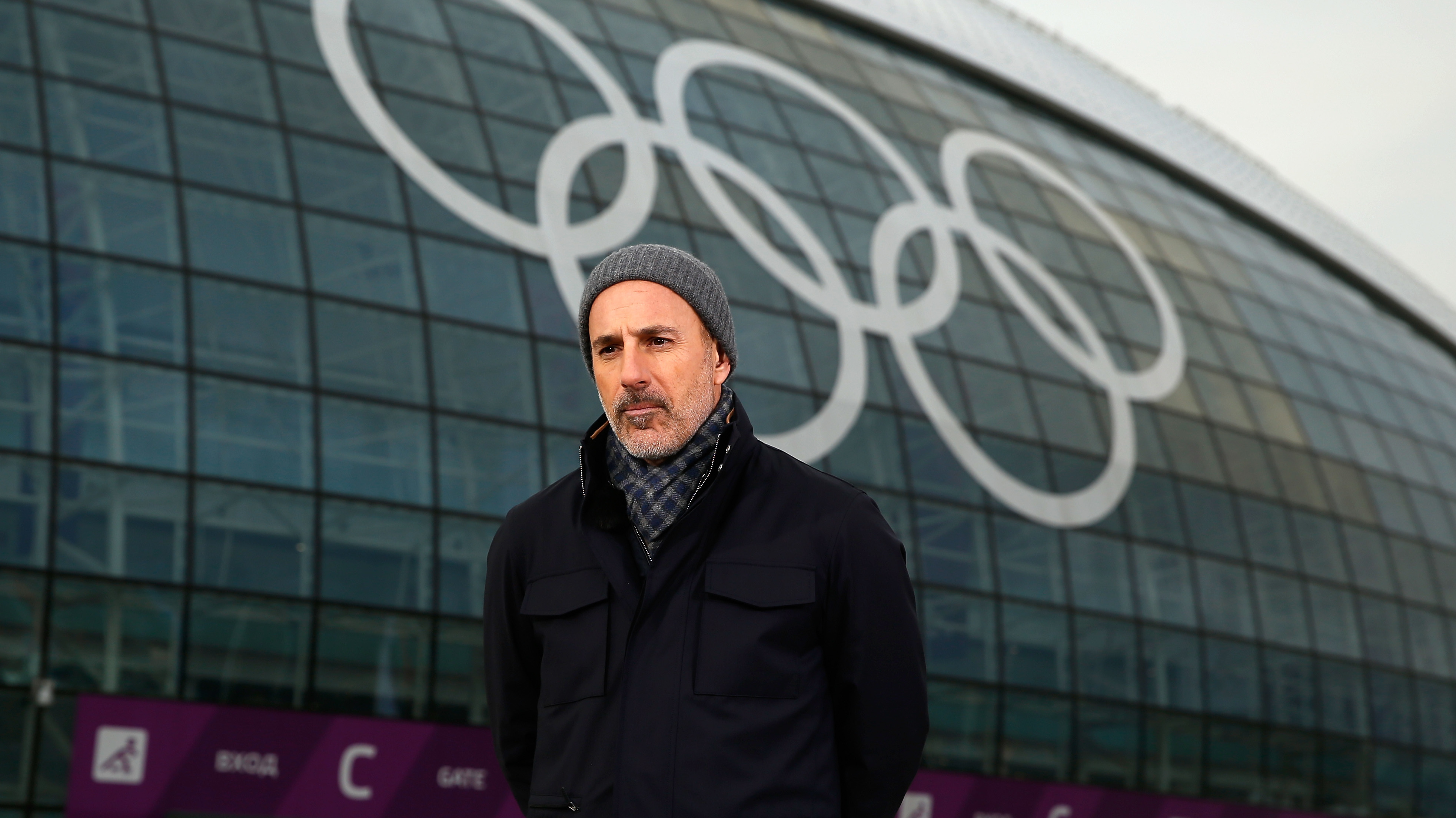 Matt Lauer, seen reporting for the NBC Today show at the 2014 Winter Olympics in Sochi, Russia, where the sexual assault described in Ronan Farrow's new book is alleged to have taken place.