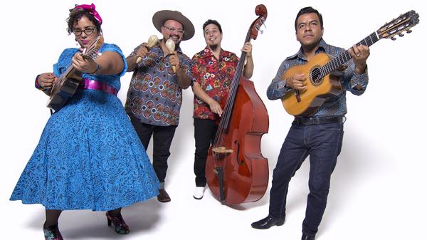 """La Santa Cecilia. From left, Marisol """"La Marisoul"""" Hernandez, Miguel """"Oso"""" Ramirez, Alex Bendaña, Jose """"Pepe"""" Carlos."""