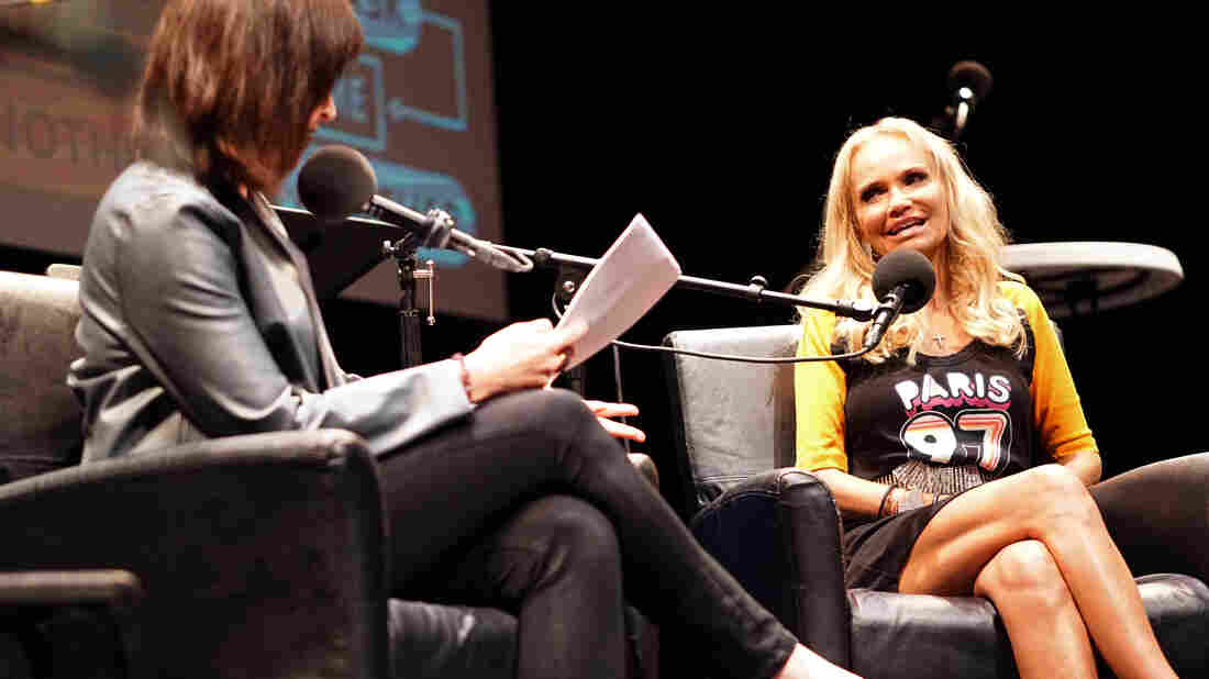 Ask Me Another host Ophira Eisenberg and Kristin Chenoweth at Cullen Performance Hall at the University of Houston, in Houston, Texas.