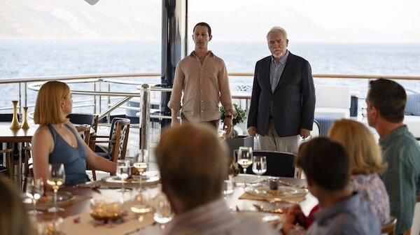 Jeremy Strong as Kendall Roy and Brian Cox as Logan Roy in the season finale of HBO's Succession.