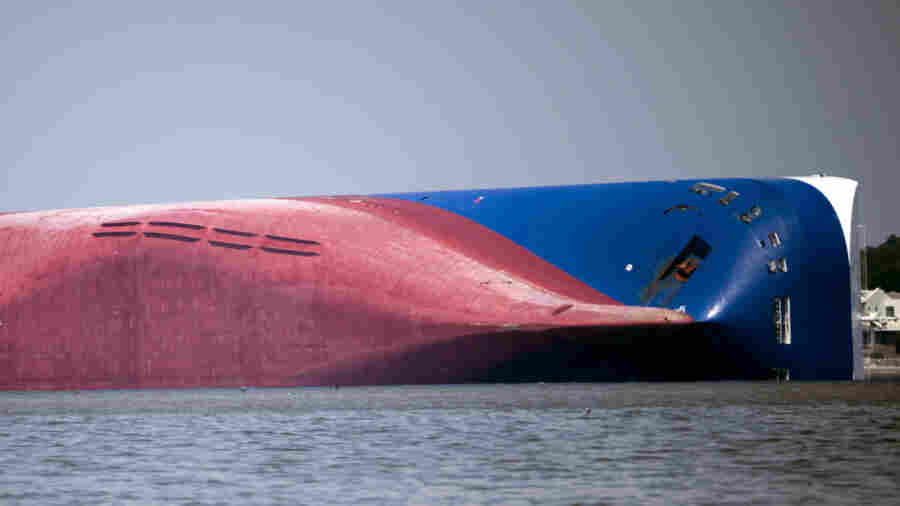 Overturned Cargo Ship In Georgia Stuck On Side, Leaking Fuel