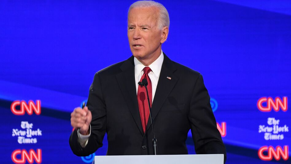 Former Vice President Joe Biden, one of the Democratic presidential hopefuls, speaks during the fourth Democratic presidential debate, which was co-hosted by <em>The New York Times</em> and CNN. (Saul Loeb/AFP via Getty Images)