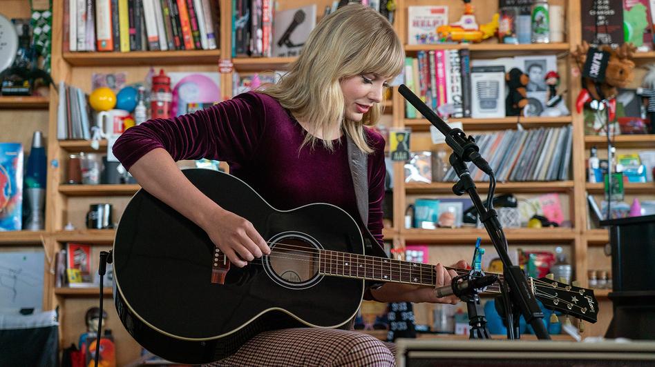 Taylor Swift performs during a Tiny Desk concert on Oct. 10, 2019. (Bob Boilen/NPR)