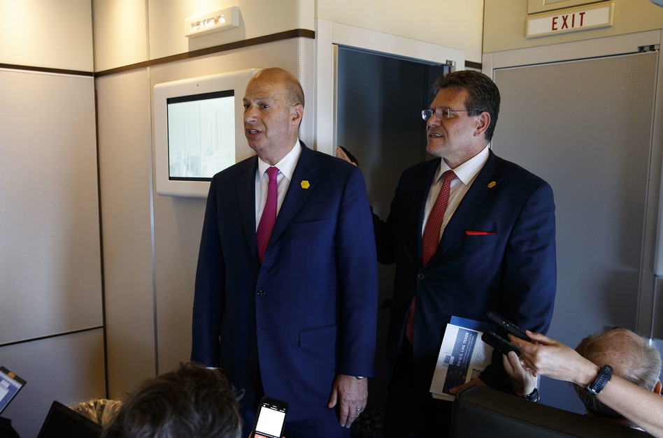 Gordon Sondland, U.S. ambassador to the European Union (left), and EU Vice President Maros Sefcovic speak with reporters about trade as they travel with President Trump on May 14. (Evan Vucci/AP)