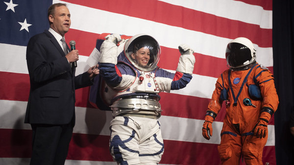 NASA administrator Jim Bridenstine speaks during a demonstration of two NASA spacesuit prototypes for lunar exploration on Tuesday.